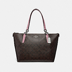 AVA TOTE IN SIGNATURE CANVAS - f31976 - brown/dusty rose/silver