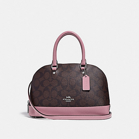 COACH f31977 MINI SIERRA SATCHEL IN SIGNATURE CANVAS brown/dusty rose/silver