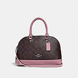MINI SIERRA SATCHEL IN SIGNATURE CANVAS - f31977 - brown/dusty rose/silver