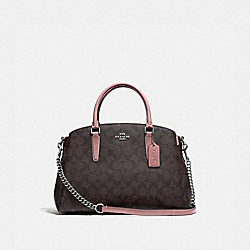 COACH F31986 - SAGE CARRYALL IN SIGNATURE CANVAS BROWN/DUSTY ROSE/SILVER