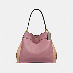LEXY SHOULDER BAG IN COLORBLOCK - f31992 - dusty rose/beechwood multi/light gold