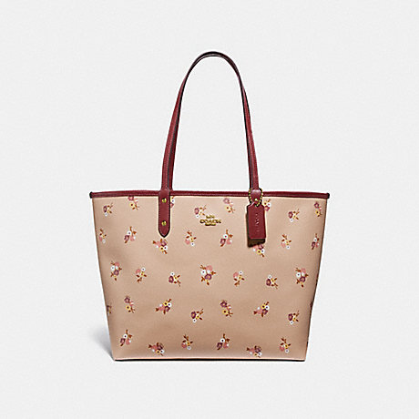 COACH F31995 REVERSIBLE CITY TOTE WITH BABY BOUQUET PRINT BEECHWOOD-MULTI/LIGHT-GOLD