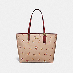 REVERSIBLE CITY TOTE WITH BABY BOUQUET PRINT - f31995 - BEECHWOOD MULTI/light gold