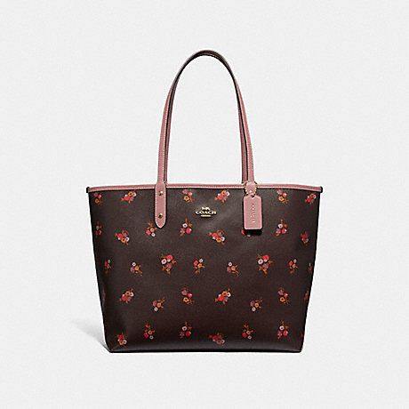 COACH F31995 REVERSIBLE CITY TOTE WITH BABY BOUQUET PRINT OXBLOOD-MULTI/LIGHT-GOLD