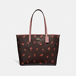 REVERSIBLE CITY TOTE WITH BABY BOUQUET PRINT - f31995 - OXBLOOD MULTI/light gold