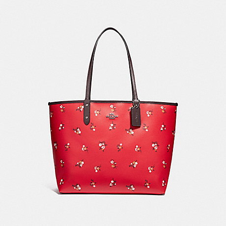 COACH F31995 REVERSIBLE CITY TOTE WITH BABY BOUQUET PRINT BRIGHT-RED-MULTI-/SILVER
