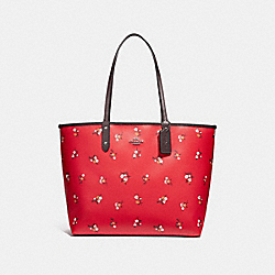 REVERSIBLE CITY TOTE WITH BABY BOUQUET PRINT - f31995 - BRIGHT RED MULTI /SILVER