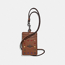 COACH F31997 - ID LANYARD WITH RAINBOW RIVETS DARK SADDLE/BLACK ANTIQUE NICKEL