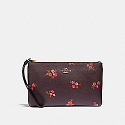 COACH F31999 - LARGE WRISTLET WITH BABY BOUQUET PRINT OXBLOOD MULTI/LIGHT GOLD