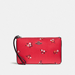 COACH F31999 - LARGE WRISTLET WITH BABY BOUQUET PRINT BRIGHT RED MULTI /SILVER