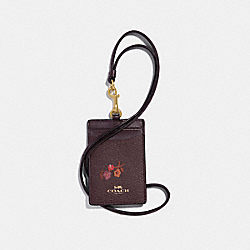COACH F32005 Id Lanyard With Baby Bouquet Print OXBLOOD MULTI/LIGHT GOLD