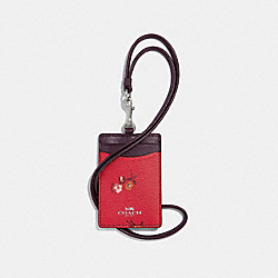 COACH F32005 Id Lanyard With Baby Bouquet Print BRIGHT RED MULTI /SILVER