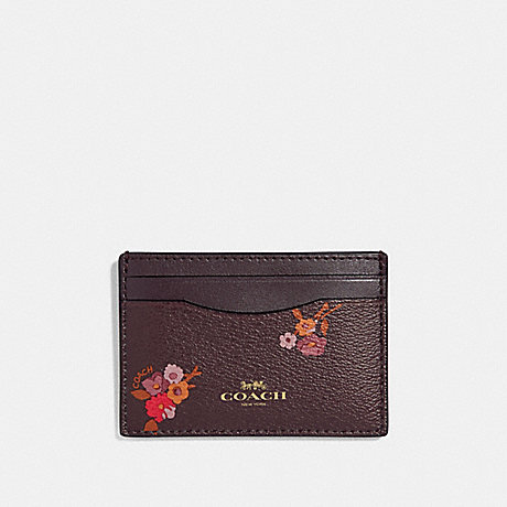 COACH F32006 FLAT CARD CASE WITH BABY BOUQUET PRINT OXBLOOD MULTI/LIGHT GOLD