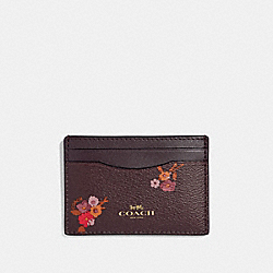 FLAT CARD CASE WITH BABY BOUQUET PRINT - F32006 - OXBLOOD MULTI/LIGHT GOLD
