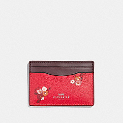 COACH F32006 Flat Card Case With Baby Bouquet Print BRIGHT RED MULTI /SILVER