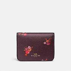 COACH F32008 Bifold Card Case With Baby Bouquet Print OXBLOOD MULTI/LIGHT GOLD