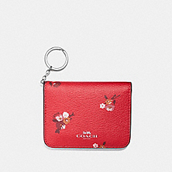 COACH F32008 Bifold Card Case With Baby Bouquet Print BRIGHT RED MULTI /SILVER