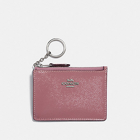 COACH F32016 MINI SKINNY ID CASE SILVER/DUSTY ROSE