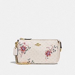 COACH F32069 Large Wristlet 19 With Mini Magnolia Bouquet Print CHALK MULTI/LIGHT GOLD
