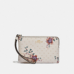 COACH F32071 Corner Zip Wristlet With Mini Magnolia Bouquet Print CHALK MULTI/LIGHT GOLD