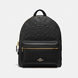 MEDIUM CHARLIE BACKPACK IN SIGNATURE LEATHER - f32083 - BLACK/light gold