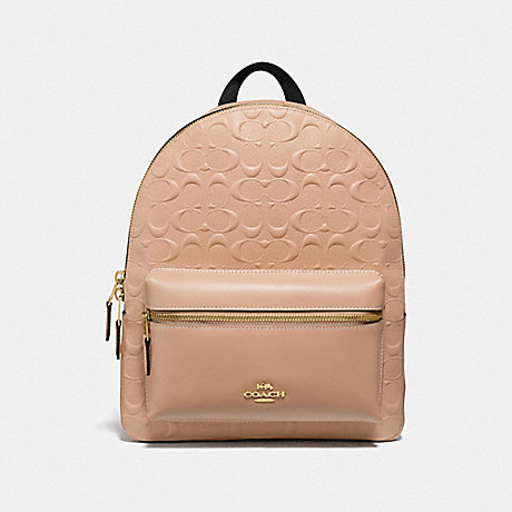 COACH F32083 MEDIUM CHARLIE BACKPACK IN SIGNATURE LEATHER BEECHWOOD/LIGHT-GOLD
