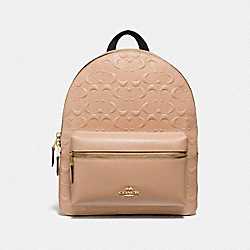 MEDIUM CHARLIE BACKPACK IN SIGNATURE LEATHER - f32083 - BEECHWOOD/light gold