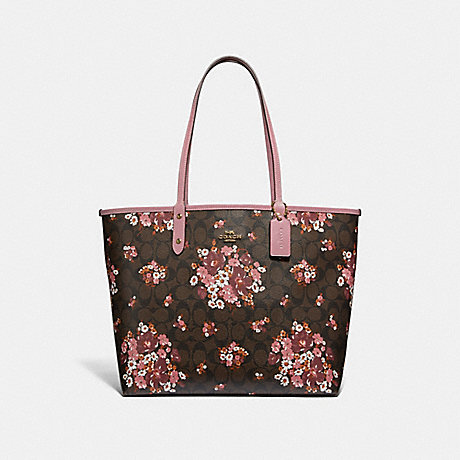 COACH F32084 REVERSIBLE CITY TOTE IN SIGNATURE CANVAS WITH MEDLEY BOUQUET PRINT BROWN-MULTI/LIGHT-GOLD