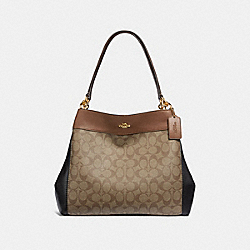 COACH F32097 Lexy Shoulder Bag In Colorblock Signature Canvas KHAKI MULTI /LIGHT GOLD