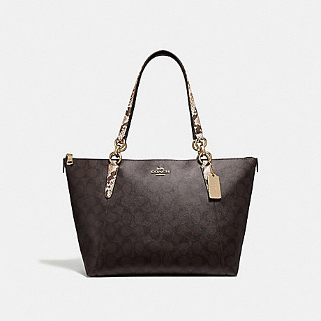 COACH F32117 AVA TOTE IN SIGNATURE CANVAS BROWN-BLACK/MULTI/LIGHT-GOLD