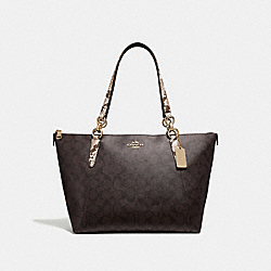 AVA TOTE IN SIGNATURE CANVAS - F32117 - BROWN BLACK/MULTI/LIGHT GOLD