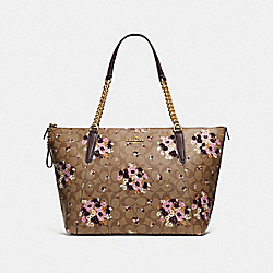 AVA CHAIN TOTE IN SIGNATURE CANVAS WITH FLORAL FLOCKING - f32118 - KHAKI MULTI /light gold