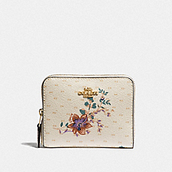 COACH F32147 Small Zip Around Wallet With Mini Magnolia Bouquet Print CHALK MULTI/LIGHT GOLD