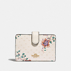COACH F32148 Medium Corner Zip Wallet With Mini Magnolia Bouquet Print CHALK MULTI/LIGHT GOLD