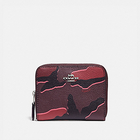 COACH F32155 SMALL ZIP AROUND WALLET WITH WILD CAMO PRINT BURGUNDY-MULTI/SILVER
