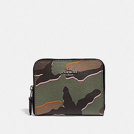 COACH F32155 SMALL ZIP AROUND WALLET WITH WILD CAMO PRINT GREEN-MULTI/SILVER