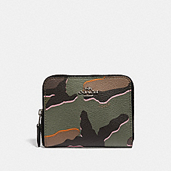 COACH F32155 Small Zip Around Wallet With Wild Camo Print GREEN MULTI/SILVER