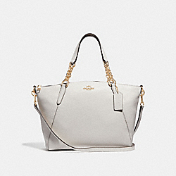 SMALL KELSEY CHAIN SATCHEL - F32157 - CHALK/LIGHT GOLD