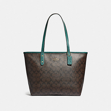 COACH F32191 CITY ZIP TOTE IN SIGNATURE CANVAS BROWN/DARK-TURQUOISE/LIGHT-GOLD