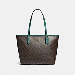COACH F32191 City Zip Tote In Signature Canvas BROWN/DARK TURQUOISE/LIGHT GOLD