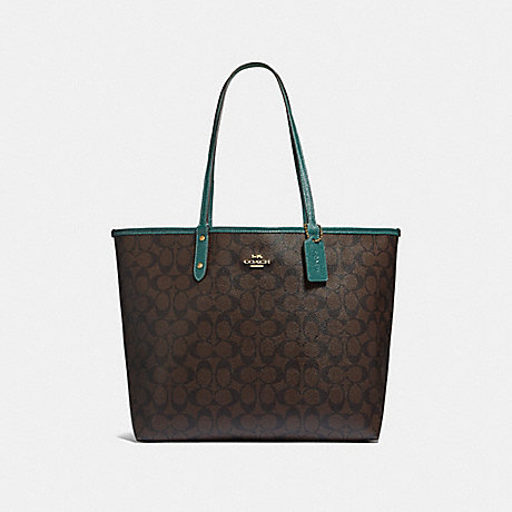 COACH F32192 REVERSIBLE CITY TOTE IN SIGNATURE CANVAS BROWN/DARK-TURQUOISE/LIGHT-GOLD