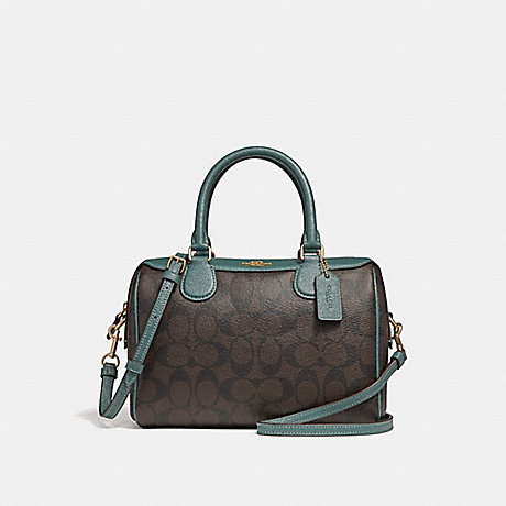 COACH F32193 MINI BENNETT SATCHEL IN SIGNATURE CANVAS BROWN/DARK-TURQUOISE/LIGHT-GOLD