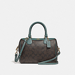 COACH F32193 - MINI BENNETT SATCHEL IN SIGNATURE CANVAS BROWN/DARK TURQUOISE/LIGHT GOLD