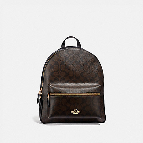 COACH F32200 MEDIUM CHARLIE BACKPACK IN SIGNATURE CANVAS BROWN/BLACK/LIGHT-GOLD