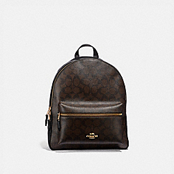 MEDIUM CHARLIE BACKPACK IN SIGNATURE CANVAS - f32200 - BROWN/BLACK/light gold