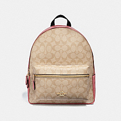 MEDIUM CHARLIE BACKPACK IN SIGNATURE CANVAS - f32200 - light khaki/peony/light gold