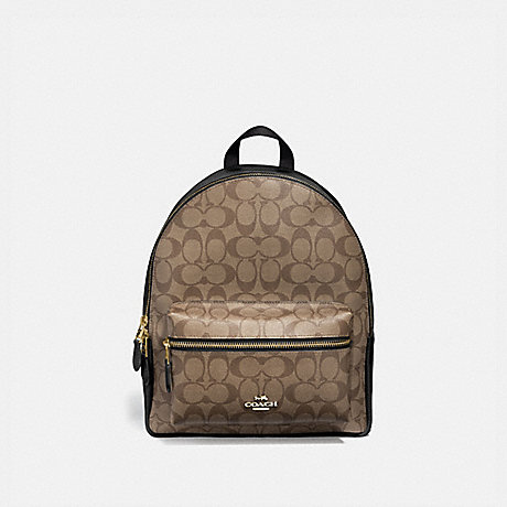 COACH F32200 MEDIUM CHARLIE BACKPACK IN SIGNATURE CANVAS IM/KHAKI/BLACK