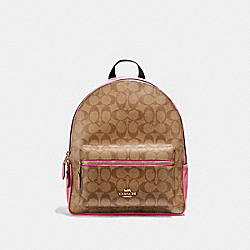 MEDIUM CHARLIE BACKPACK IN SIGNATURE CANVAS - F32200 - KHAKI/PINK RUBY/GOLD