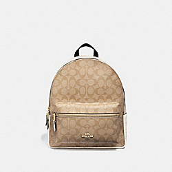 MEDIUM CHARLIE BACKPACK IN SIGNATURE CANVAS - F32200 - LIGHT KHAKI/CHALK/IMITATION GOLD