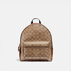 COACH F32200 Medium Charlie Backpack In Signature Canvas KHAKI/SADDLE 2/LIGHT GOLD